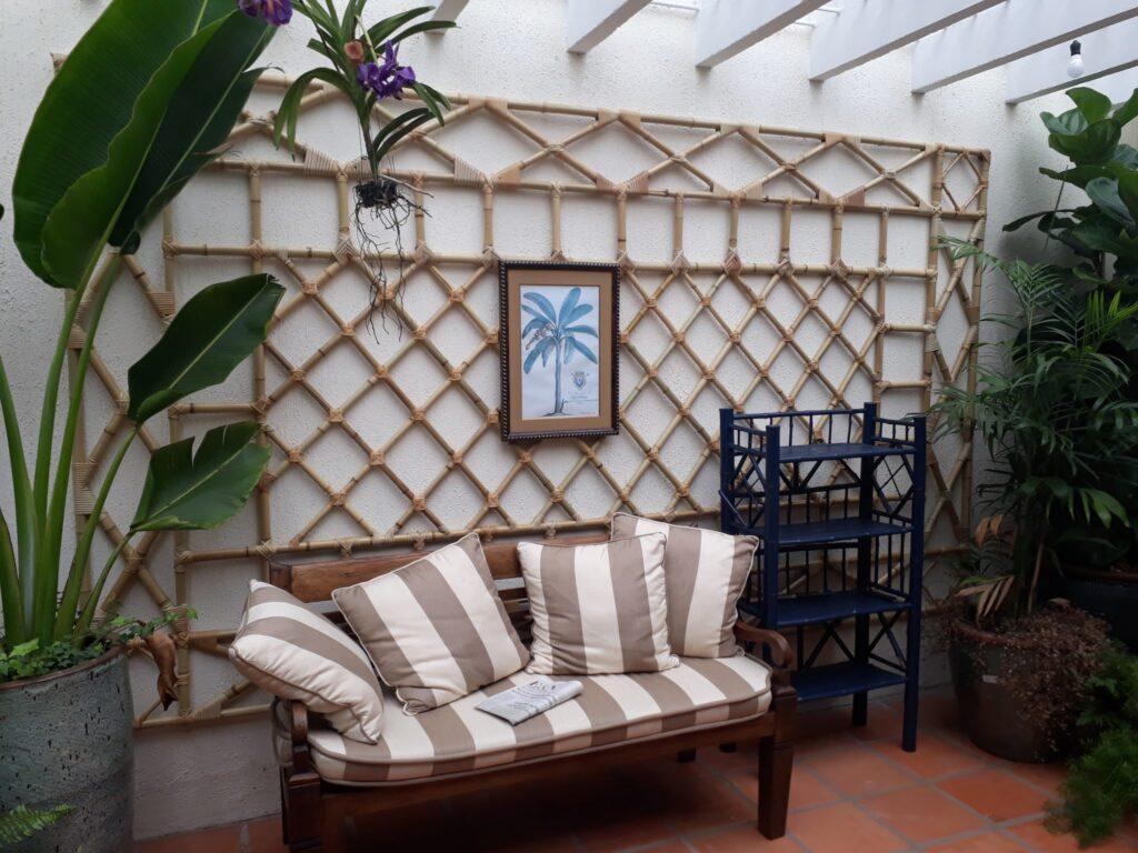 treliça de parede feita com bambu
