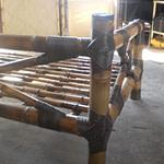 Sofá cama da bambu mossô com cana da índia tratada
