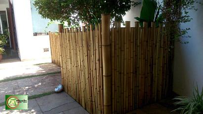 cerca de bambu no jardim