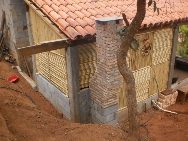 CP-052 Painéis de bambu natural decorando casa de campo
